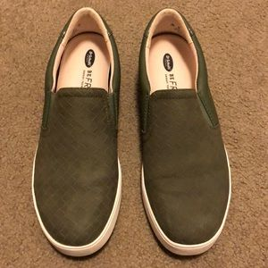 Women's slip on olive green casual shoes